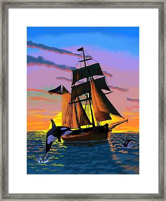 Orcas At Sunset Framed Print by Brad Simpson