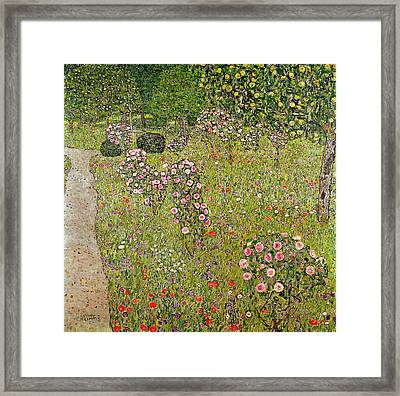 Orchard With Roses Obstgarten Mit Rosen Framed Print
