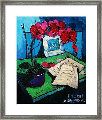 Orchid And Piano Sheets Framed Print