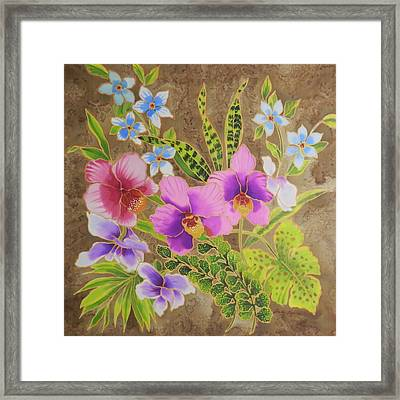 Orchid Bouquet On Silk Framed Print by Leslie  Rogers Todder