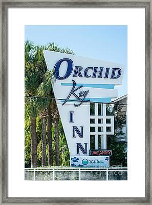 Orchid Inn Sign Key West Framed Print by Ian Monk