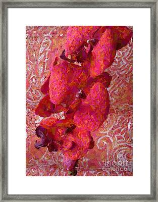 Orchid On Fabric Framed Print by Barbie Corbett-Newmin