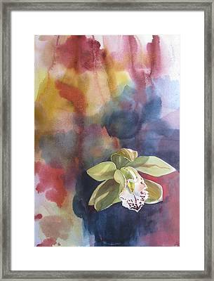 Orchid With Abstraction Framed Print by Alfred Ng