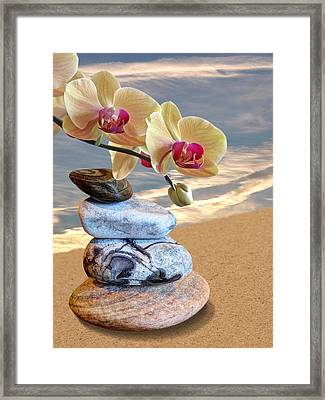 Orchids And Pebbles On Sand Framed Print by Gill Billington