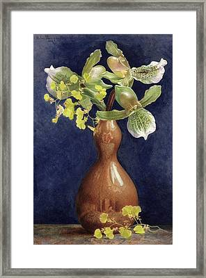 Orchids In A Copper Vase, 1881 Framed Print by Helen Thornycroft