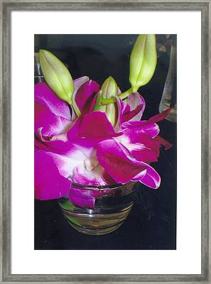 Orchids In A Glass Framed Print