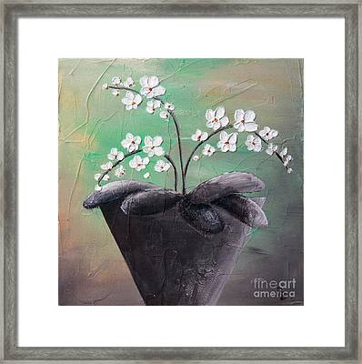 Orchids In Pot Framed Print by Home Art