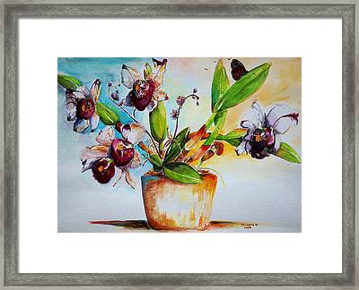 Framed Print featuring the painting Orchids Of The Bay by Bernadette Krupa