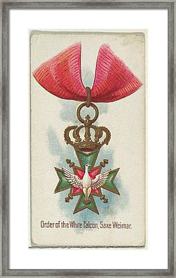 Order Of The White Falcon, Saxe Weimar Framed Print by Allen & Ginter