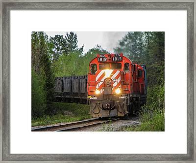 Red Ore Train On A Curve Near Bathurst Framed Print