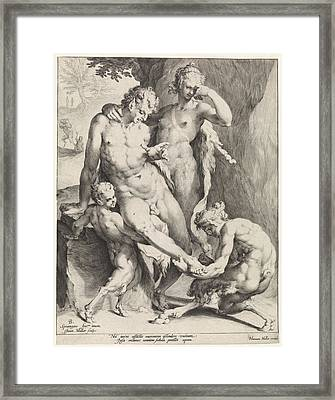 Oreaden Removing A Thorn From The Foot Of A Satyr Framed Print by Jan Harmensz. Muller And Bartholomeus Spranger And Harmen Jansz Muller
