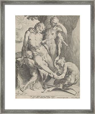Oreaden Removing A Thorn From The Foot Of A Satyr Framed Print by Jan Harmensz. Muller And Clement De Jonghe And Harmen Jansz Muller