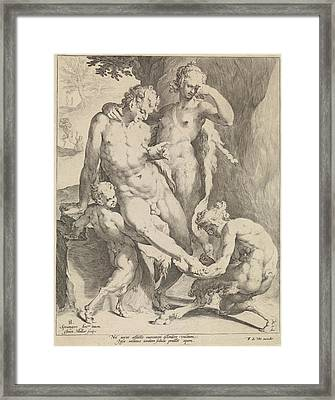 Oreaden Removing A Thorn From The Foot Of A Satyr Framed Print by Jan Harmensz. Muller And Frederik De Wit