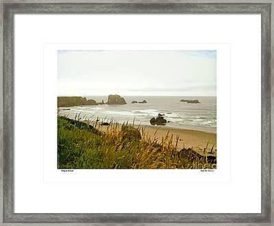 Framed Print featuring the digital art Oregon Beach by Kenneth De Tore