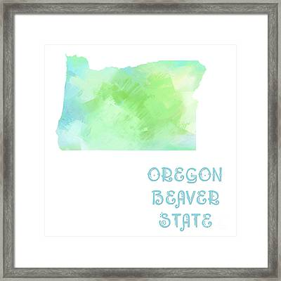Oregon - Beaver State - Map - State Phrase - Geology Framed Print