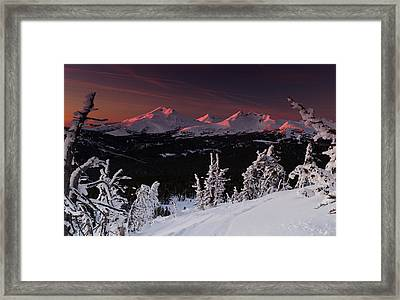 Oregon Cascades Winter Sunset Framed Print