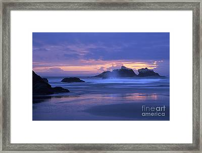 Oregon Coast Sunset Framed Print by Chris Scroggins