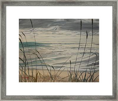 Oregon Coast With Sea Grass Framed Print