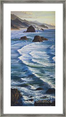 Framed Print featuring the painting Oregon Coastline by Jeanette French