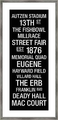 Oregon College Town Wall Art Framed Print