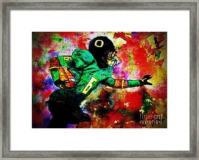 Oregon Football 3 Framed Print by Michael Cross