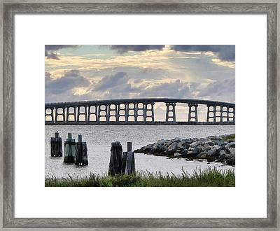 Oregon Inlet Bridge And Pilings Framed Print by Patricia Januszkiewicz