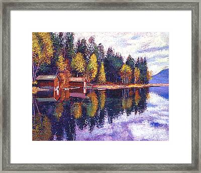 Oregon Lake Boathouses Framed Print