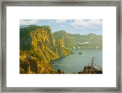 Oregon Lake Time Framed Print by Nur Roy
