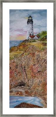 Oregon Lighthouse With Over 200 Hide And Seek Marine Life Objects Framed Print by Meldra Driscoll
