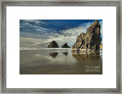 Oregon Sea Stack Reflections Framed Print by Adam Jewell