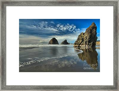 Oregon Sea Stack Surf Framed Print by Adam Jewell