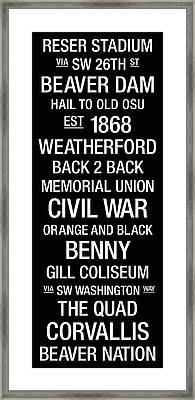 Oregon State College Town Wall Art Framed Print by Replay Photos