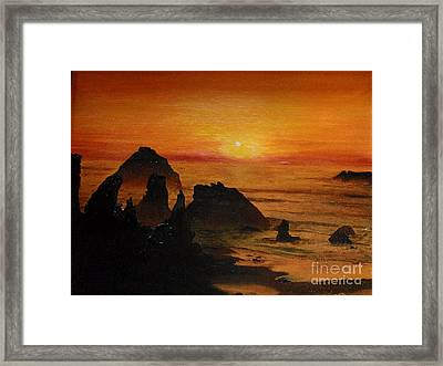 Framed Print featuring the painting Oregon Sunset by Suzette Kallen