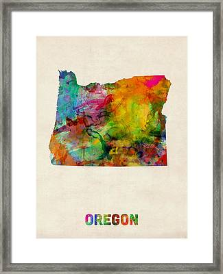 Oregon Watercolor Map Framed Print by Michael Tompsett