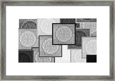 Oreo Negative Hope Collage 3 Black And White Framed Print by Rob Hans