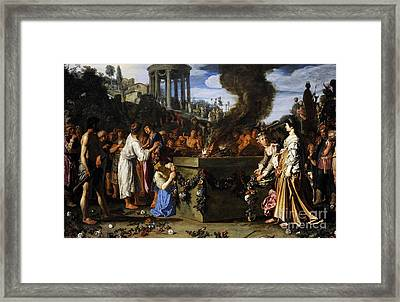 Orestes And Pylades Disputing At The Altar, 1614, By Pieter Lastman C.1583-1633 Framed Print by Bridgeman Images