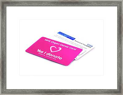 Organ Donor Cards Framed Print