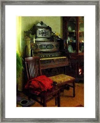 Organ In Parlor Framed Print by Susan Savad