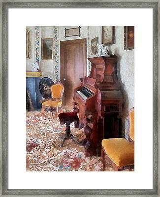 Organ In Victorian Parlor Framed Print by Susan Savad