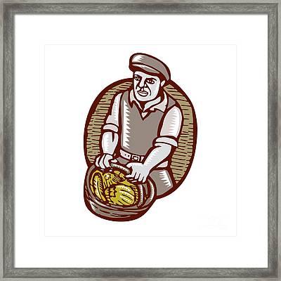 Organic Farmer Harvest Basket Woodcut Linocut Framed Print