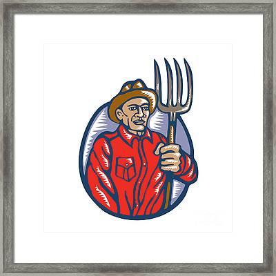 Organic Farmer Holding Pitchfork Woodcut Linocut Framed Print