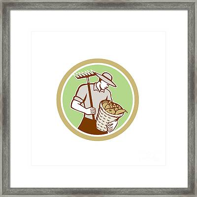 Organic Farmer Holding Rake Harvest Basket Retro Framed Print by Aloysius Patrimonio