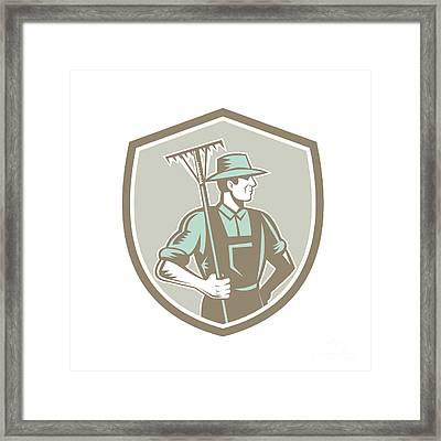 Organic Farmer Rake Shield Woodcut Retro Framed Print by Aloysius Patrimonio