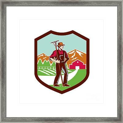 Organic Farmer Rake Woodcut Shield Retro Framed Print by Aloysius Patrimonio