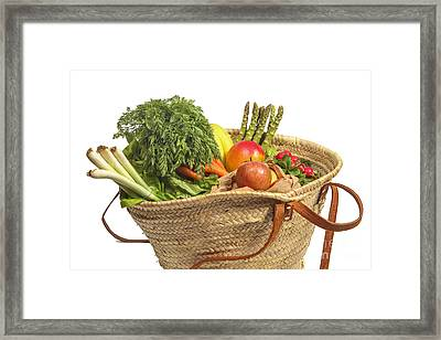 Organic Fruit And Vegetables In Shopping Bag Framed Print by Patricia Hofmeester