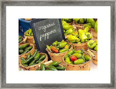 Organic Peppers At Farmers Market Framed Print