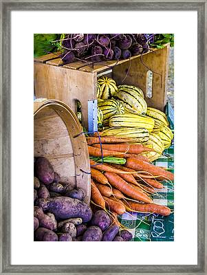 Organic Vegetable Farm Stand Framed Print by Julie Palencia