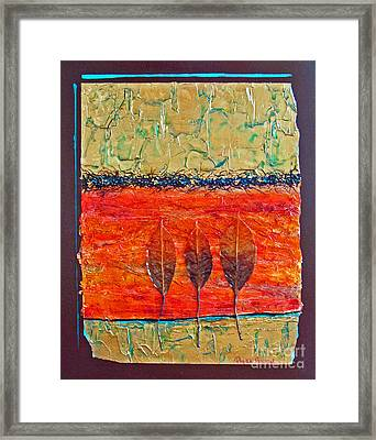 Framed Print featuring the mixed media Organic With Three Leaves by Phyllis Howard
