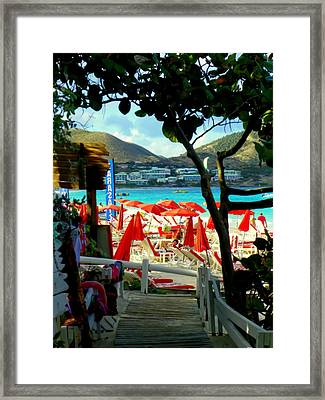 Orient Beach Peek Framed Print by Karen Wiles