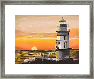 Orient Point Lighthouse Framed Print by Donna Blossom